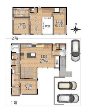 奈良市千代ヶ丘1丁目:中古戸建て 間取り図